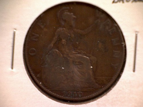 1910 GREAT BRITAIN ONE PENNY KING EDWARD V11
