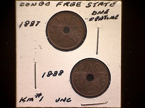 "1887 - 1888   CONGO FREE STATE  CENTIME  ""TWO COINS"""
