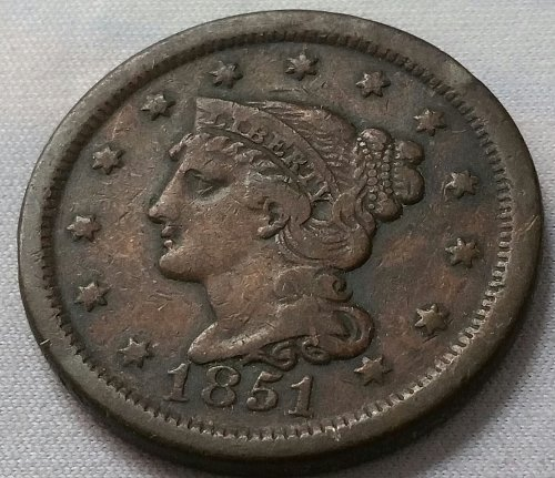 1851 Braided Hair Liberty Head Large Cent ~ VF
