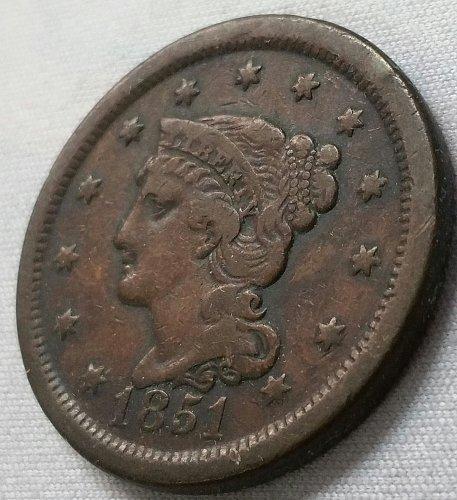 1851 Braided Hair Liberty Head Large Cent ~ VF