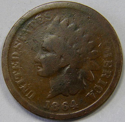 1864L  Indian Head Cent #9 Pointed Bust