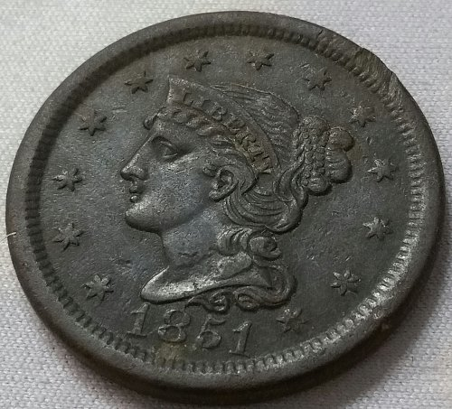 1851 Braided Hair Liberty Head Large Cent ~ VF 30
