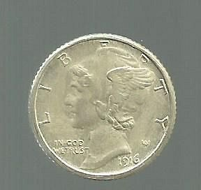1916D Mercury Dime  Exact COPY