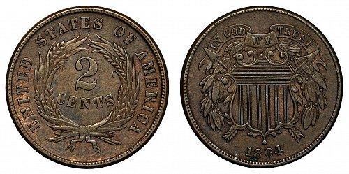 USA 2 cent 1864 Shield