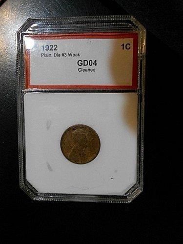 1922 no D Lincoln Cent  GD04 Die3 Weak Reverse