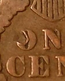 """1891 Indian Head Cent Variety  COIN - Reverse Error Partial """"O"""" in The word One"""