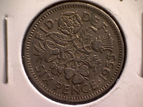 1955 GREAT BRITAIN SIX PENCE  QUEEN ELIZABETH 11