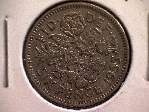 1955 GREAT BRITAIN SIX PENCE  QUEEN ELIZABETH 11
