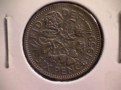 1959 GREAT BRITAIN SIX PENCE  QUEEN ELIZABETH 11