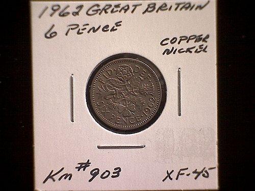 1962 GREAT BRITAIN 1962 SIX PENCE  QUEEN ELIZABETH 11