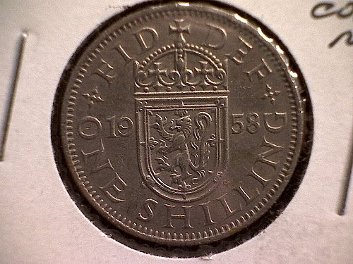 "1958 GREAT BRITAIN ONE SHILLING  QUEEN ELIZABETH 11  ""SCOTTISH SHIELD"""