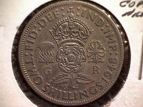 1948 GREAT BRITAIN FLORIN TWO SHILLINGS  KING GEORGE V1