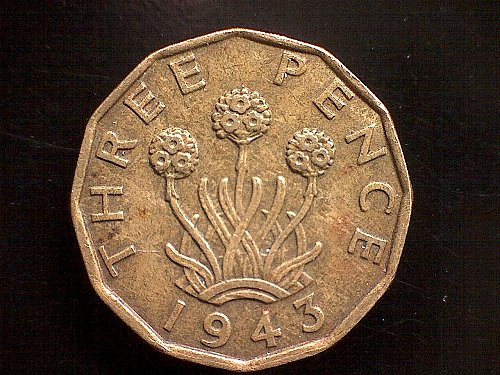 1943 GREAT BRITAIN  THREE PENCE   KING GEORGE V1