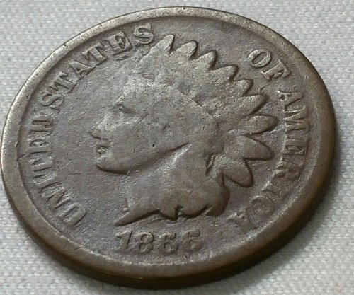 1866 Indian Head Cent Small Cent - Good