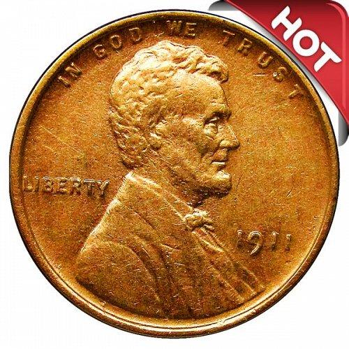 1911 P Lincoln Wheat Cent - AU / BU
