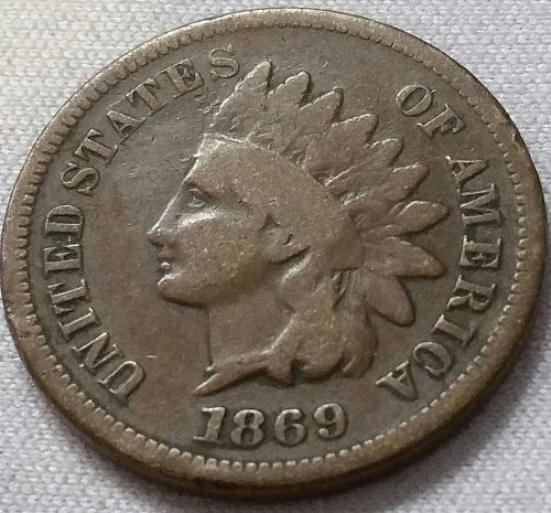 1869 Indian Head Cent Small Cent - Good
