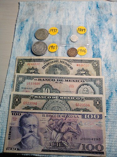 MEXICO SILVER COIN AND BANKNOTE LOT