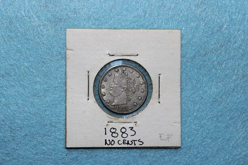 1883 P Liberty Nickel: No Cents