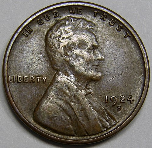 1924 S Lincoln Wheat Cent #4