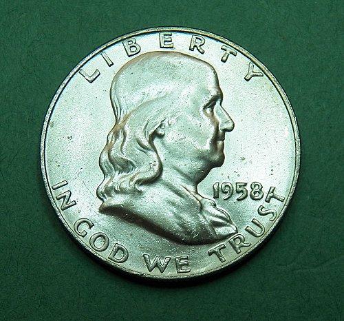 1958 D Franklin Half Dollar Brilliant Uncirculated Coin   f29