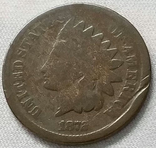 1872 P Indian Head Cent Small Cent: Bold N - Good ~ Gouge on obverse