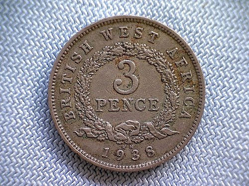 1938 BRITISH WEST AFRICA  THREE PENCE  KING GEORGE V1