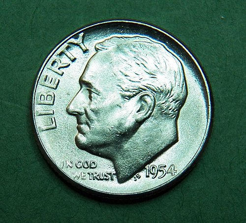 1954 P Roosevelt Dime Brilliant Uncirculated Coin   f42