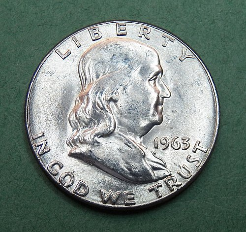 1963 P Franklin Half Dollar Brilliant Uncirculated Coin   f47