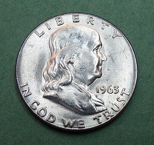 1963 P Franklin Half Dollar Brilliant Uncirculated Coin   f47