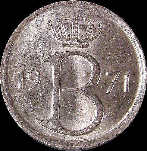 Belgium 1971 25 Centimes Baudouin I