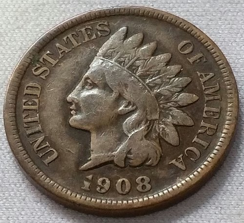 1908 S Indian Head Cent - VG 10
