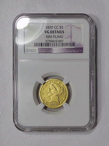 1870-CC NGC VG $5 gold half eagle, THE KEY Carson City mint gold piece! ~SUPER R