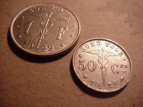 2-french 1922 belgium 1 franc,& 1928 50 centimes  real high grade