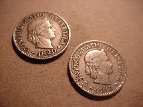2-switzerland 10 rappen 1913 & 1920  real nice grade