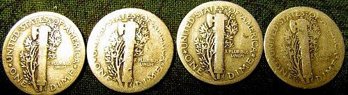 1916,17,18, & 18-D mercury SILVER Dimes