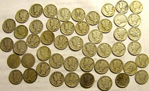 Roll VINTAGE Merc. Dimes, 2 Barber, 1 x 1919, then 1920's to 1930's /////