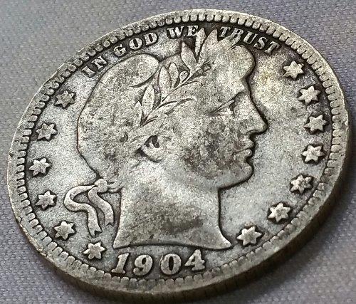1904 O Barber Quarter - VG 10