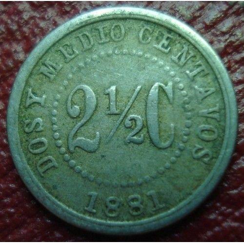 1881 colombia 2 1/2 centavos