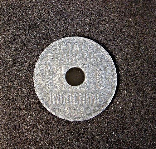 French Indochina 1943 1/4 Centimes Zinc WW2