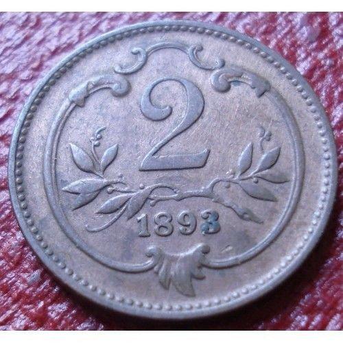 1893 austria 2 heller