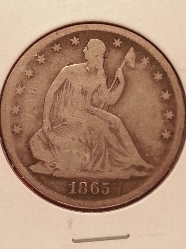 1865 Seated Liberty Half