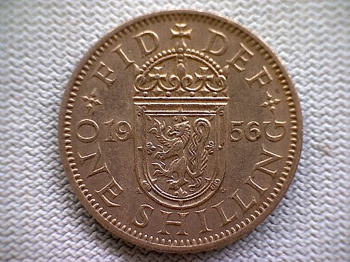 "1956 GREAT BRITAIN ONE SHILLING QUEEN ELIZABETH 11  "" SCOTTISH SHIELD"""