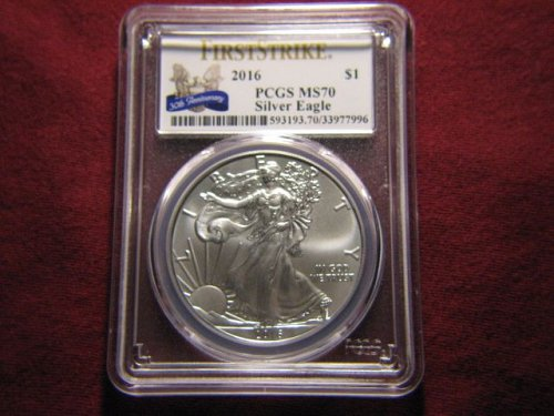 2016 $1 American Eagle 1oz .999 silver First Strike PCGS MS70 30th Anniversary