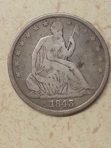 1843 Seated Liberty Half