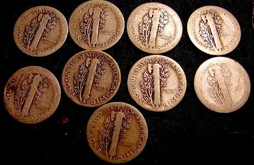 9 Mercury SILVER Dimes 4 x 1917's, 1918, 1923, 1924, 2 x 1927's