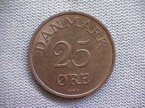 1955H  DENMARK  TWENTY-FIVE  ORE