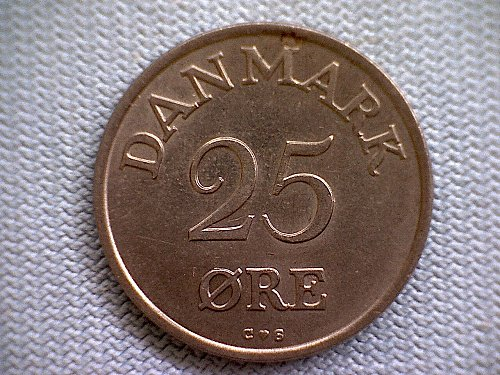 1957H  DENMARK  TWENTY-FIVE  ORE