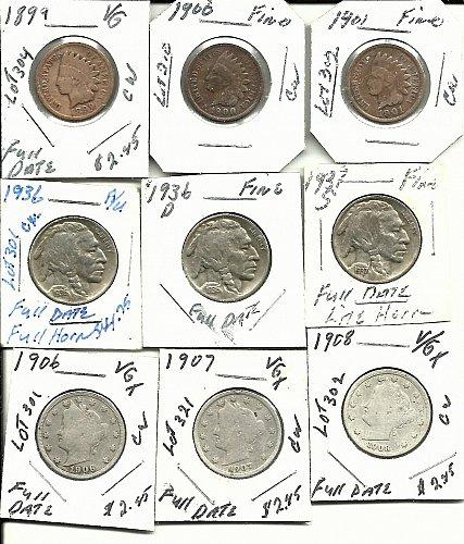 Indian Head Pennys     //Buffalo Nickels //   Liberty V Nickels Lot!!!