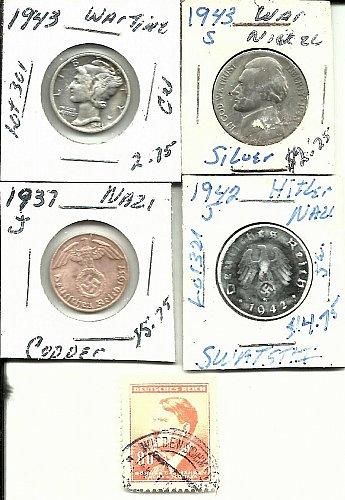 1943 Mercury Dime ?? 1943S Jefferson War Nickel  Hitler German nazi Coins !!!