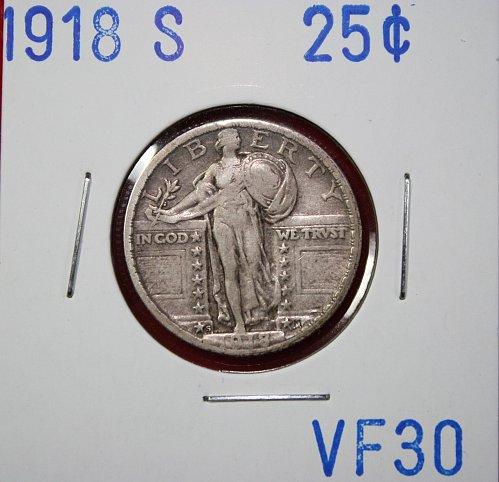 1918 S STANDING LIBERTY QUARTER